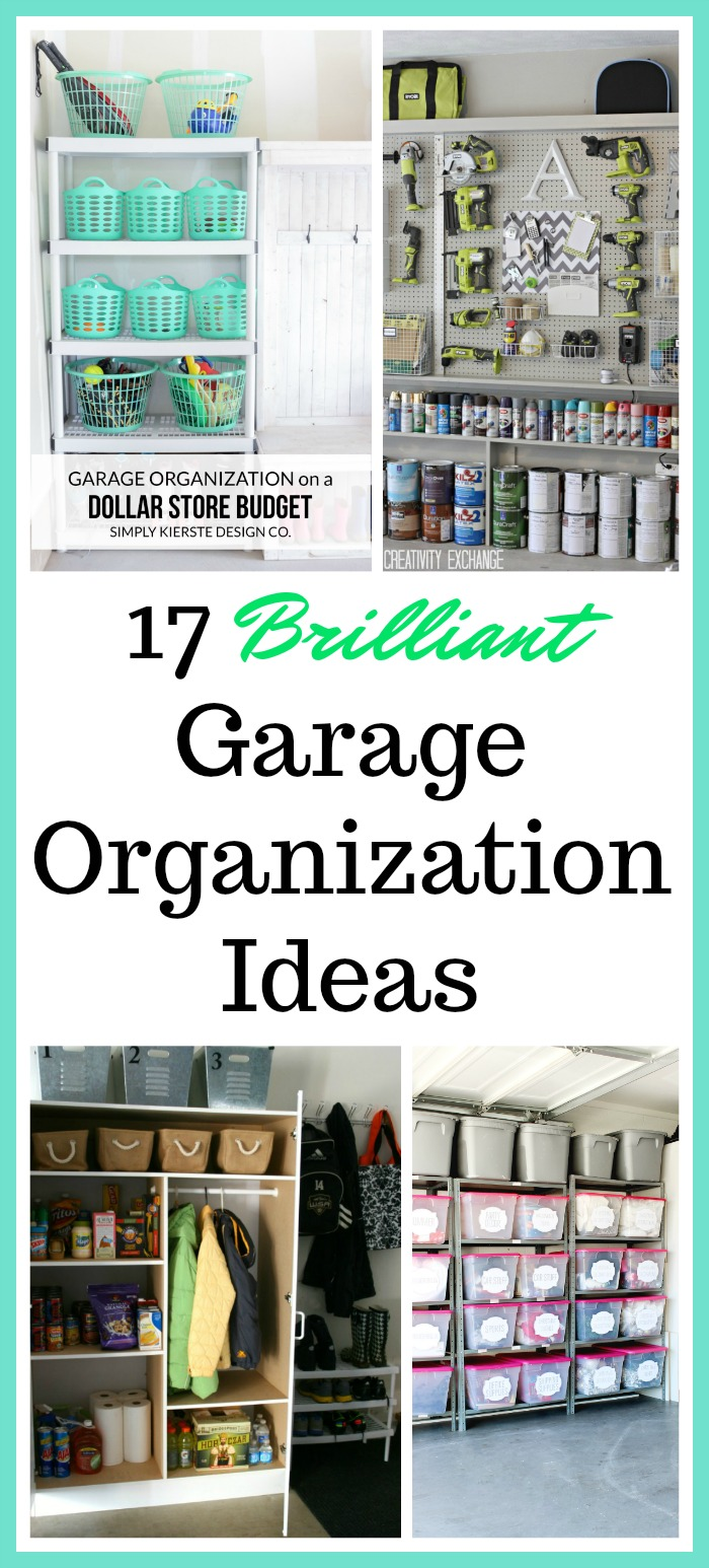 17 Brilliant Garage Organization Ideas - Get your garage in shape with these awesome garage organization ideas. Organize your tools, seasonal decor & other items with these great ideas! Home organizing ideas, garage storage, labels for bins, organizing ideas