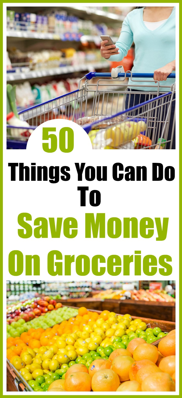Save money on groceries - Groceries are the one area where we have the most control as far as spending goes! Here are my top 50 tips to save money on your groceries. Living on a budget, frugal living, money saving tips, personal finance, how to save money on groceries without coupons, how to coupon, meal planning, money saving apps