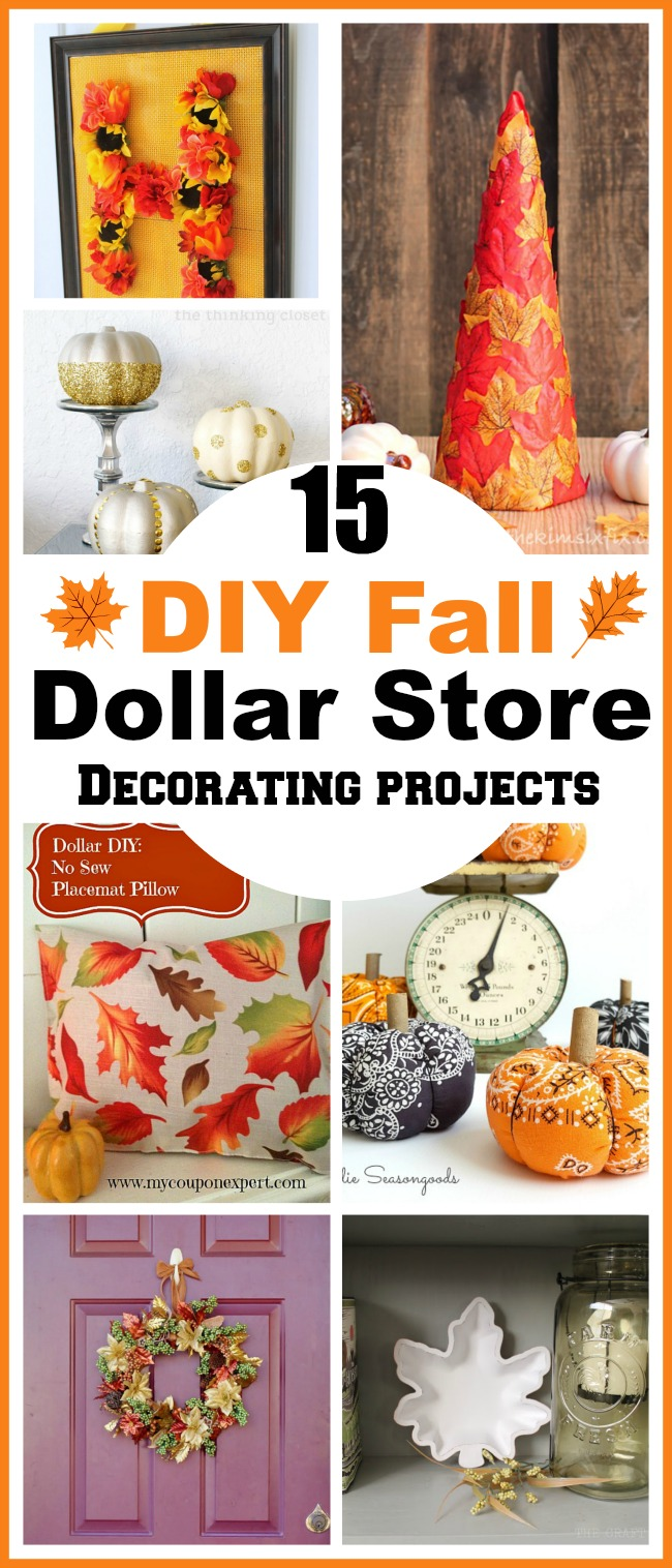 15 DIY Fall Dollar Store Home Decor Projects to add a little autumn warmth to your table, front door or porch! Dollar store crafts, DIY home decor projects, fall crafts, fall home decorating projects, decorating on a budget