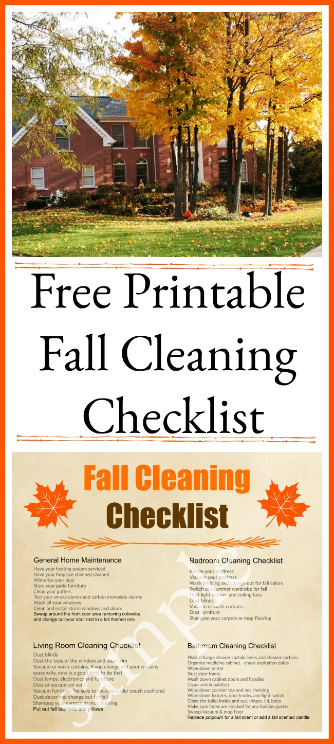 Free Printable Fall Cleaning Checklist- Want to get your home neat and tidy for your holiday guests? Then you should get this free printable fall cleaning checklist! | room by room autumn cleaning schedule, #cleaning #freePrintable #cleaningChecklist #cleaningSchedule #cleaningTips #printable #fall #homemaking #ACultivatedNest