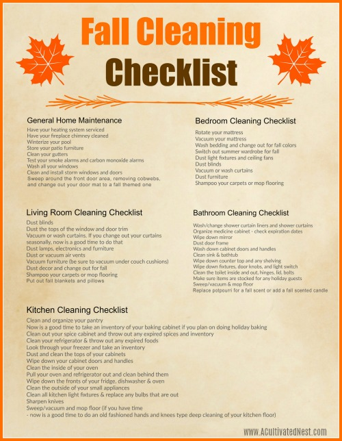 Free Printable Autumn Cleaning Schedule- Spring cleaning gets a lot of attention, but if you want to get ready for the holidays you need this fall cleaning checklist free printable! | room by room autumn cleaning schedule, #cleaning #freePrintable #printable #fall #cleaningTips #homemaking #cleaningChecklist #cleaningSchedule #ACultivatedNest