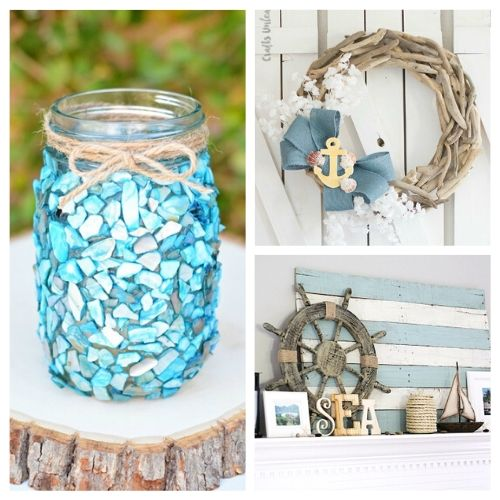 15 DIY Beach Inspired Home Decor Projects- Check out these DIY beach inspired home decor projects so you can add a coastal vibe to your home on a budget! These are such pretty summer decor ideas! | Coastal DIY home decor ideas, DIY projects, nautical home decor, beach cottage, easy crafts, #diyProjects #beachDecor #summerDecor #crafts #ACultivatedNest
