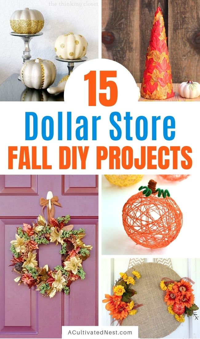 15 DIY Fall Dollar Store Decor Projects- You can add a little autumn warmth to your home's decor on a budget with these DIY fall dollar store home decor projects! | Dollar store crafts, DIY home decor projects, fall crafts, fall home decorating projects, decorating on a budget #dollarStoreDIY #craft #diyProjects #fallDecorating #ACultivatedNest
