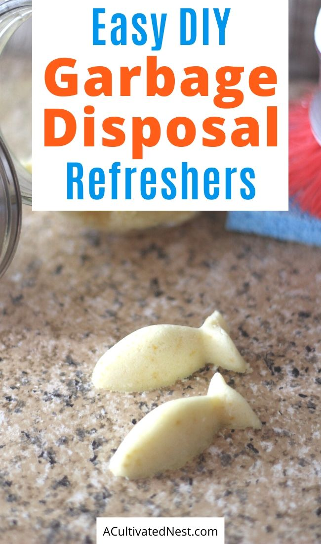 DIY Garbage Disposal Cleaner- Keep your garbage disposal clean and smelling fresh with these easy homemade garbage disposal refreshers! | #DIY #homemadeCleaningProducts #cleaning #DIYCleaning #ACultivatedNest