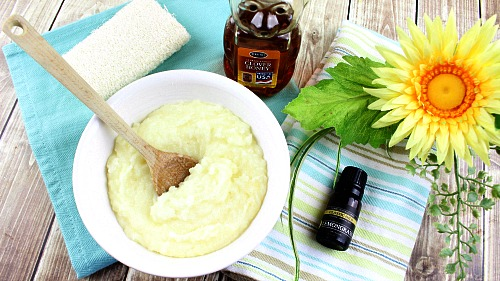 Honey Lemongrass Sugar Scrub- This honey lemongrass sugar scrub smells delightful and leaves your skin looking and feeling great! It makes a wonderful (and easy) DIY gift!   homemade beauty product, all-natural body scrub, essential oils, bright yellow, spa