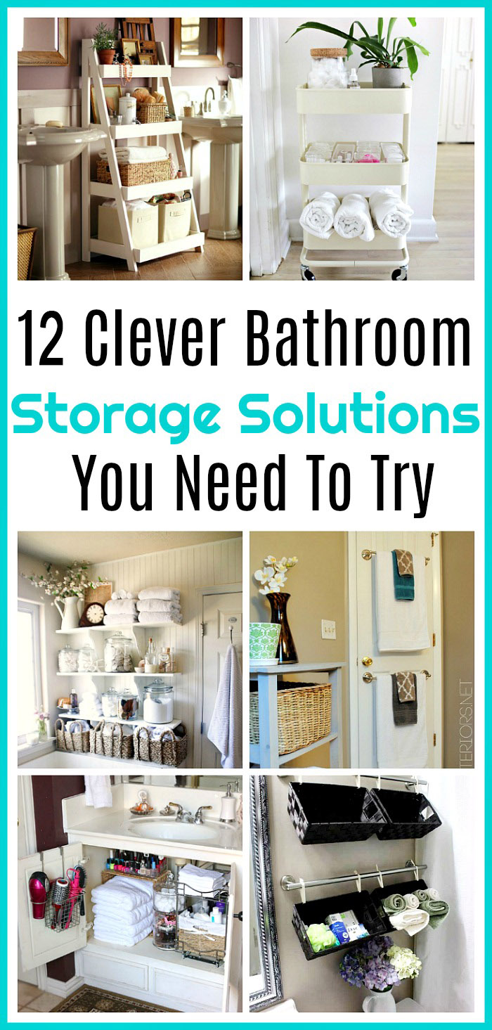12 Bathroom Storage Solutions- If you need to organize your bathroom on a budget, then you'll love these 12 creative bathroom storage solutions! There are so many clever and frugal ways to organize your bathroom!   bathroom organization, bathroom storage, creative organizing ideas, small bathrooms, DIY home decor ideas #organization #smallBathrooms #bathroomOrganization #diyStorage #ACultivatedNest