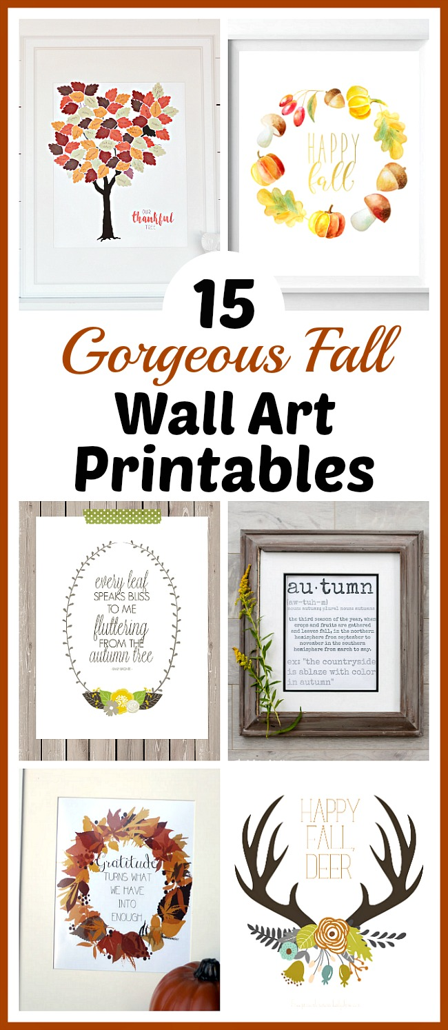 15 Gorgeous Fall Wall Art Printables- An easy and inexpensive way to decorate your home for fall is with free printables. Check out these 15 gorgeous fall wall art printables! | autumn, art print, leaf wreath printable, Thanksgiving printable, Halloween printable, #freePrintables #printable #fallDecorating #wallArt #ACultivatedNest
