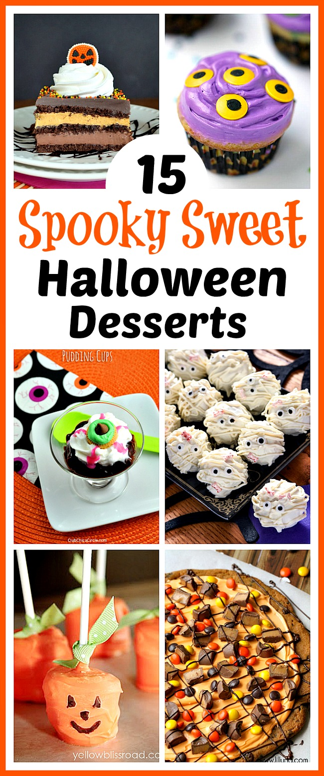 15 Spooky Sweet Halloween Desserts- Be creative and let your imagination loose this Halloween with these 15 fun Halloween desserts! There are so many delicious treats to choose from! | baking, cupcakes, cookies, cakes, donuts, pumpkins, monsters, food, #Halloween