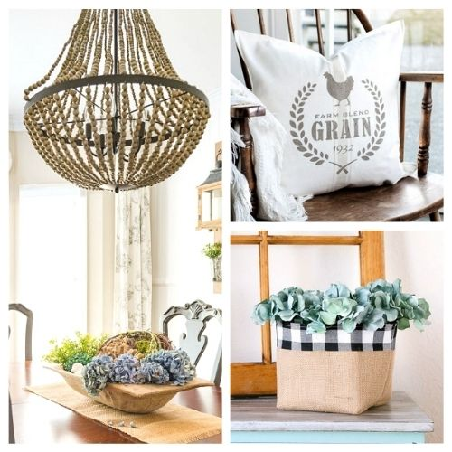 15 Charming DIY Farmhouse Decor Ideas- Get farmhouse chic style home decor on a budget with these 15 charming DIY farmhouse decor ideas! | decorating, DIY projects, craft, make your own farmhouse decor, home decor, frugal decorating, #farmhouseDecor #DIY #diyProjects #crafts #ACultivatedNest