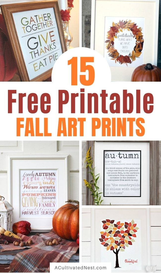 15 Gorgeous Fall Wall Art Printables- If you want to decorate your home for fall on a budget, you need to check out these gorgeous free fall wall art printables! | autumn, art print, leaf wreath printable, Thanksgiving printable, Halloween printable, #freePrintables #printable #fallDecor #wallArt #ACultivatedNest