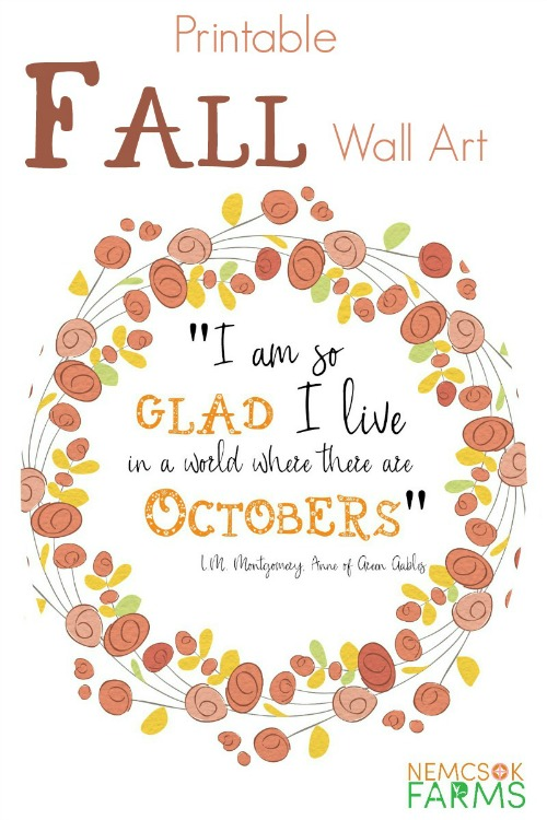 photograph regarding Printable Fall Decorations called 15 Breathtaking Slide Wall Artwork Printables- No cost Autumn Artwork Prints