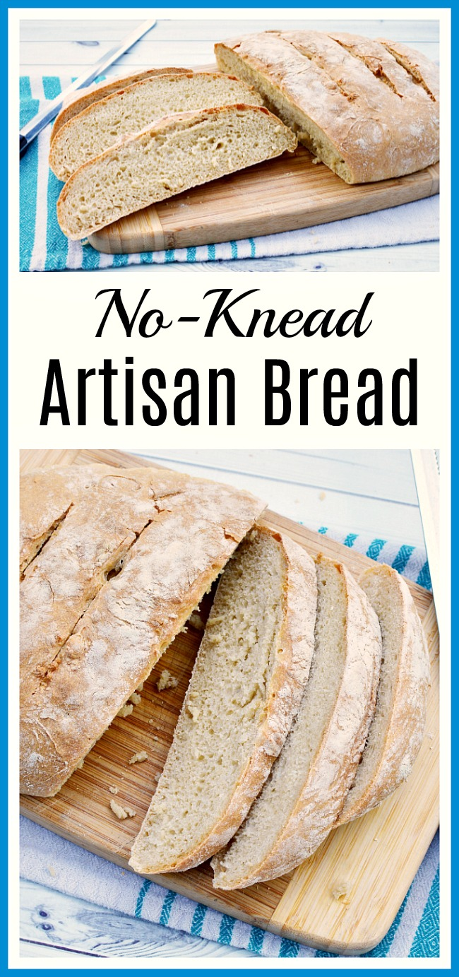 No-Knead Artisan Bread- You don't need a bread maker and you don't have to spend time kneading to make this delicious homemade no-knead artisan bread! It uses only 4 ingredients! | homemade bread, baking, make bread without kneading, yeast bread, sandwich bread, easy bread, #homemadeBread