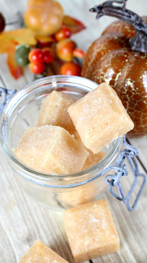 Exfoliating Pumpkin Spice Sugar Scrub Cubes- These exfoliating pumpkin spice sugar scrub cubes are such a wonderful way to pamper your skin this fall! They also make a great DIY gift! | autumn, easy, quick, homemade gift, #diy #sugarScrub #beauty #homemade