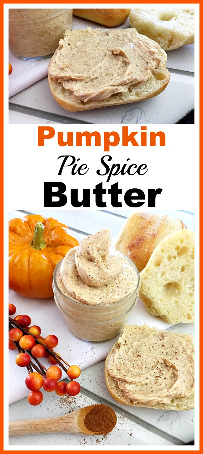 Homemade Pumpkin Pie Spice Butter- The only thing better than butter on bread is flavored butter on bread! Here's how to make homemade pumpkin pie spice butter that's perfect for fall! | flavored butter, fall, autumn, pumpkin spread, ways to use up extra pumpkin pie mix filling, food, #pumpkin