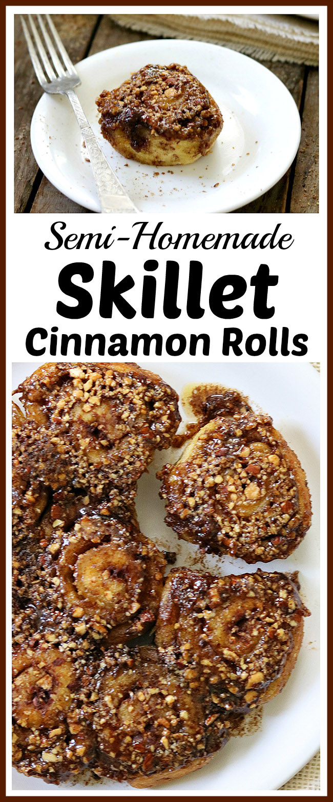 Semi-Homemade Skillet Cinnamon Rolls- You don't have to make desserts 100% from scratch for that homemade flavor. Save time and make these delicious semi-homemade skillet cinnamon rolls! | cinnamon rolls with pecan glaze, baking, treat, fall, autumn, food, #dessert #baking