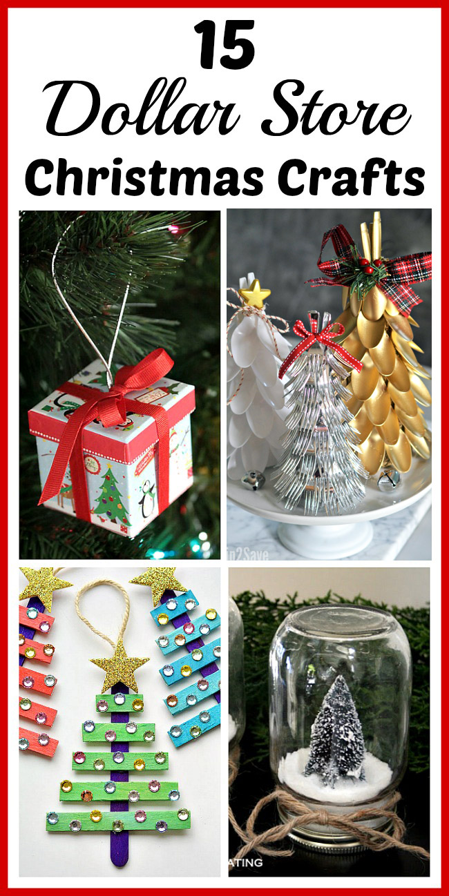 15 Dollar Store Christmas Crafts- You can decorate your home for Christmas even if you're on a tight budget! Check out these 15 frugal dollar store Christmas crafts! | #Christmas #DIY #craft #dollarStore