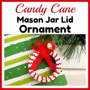 Candy Cane Mason Jar Lid Ornament