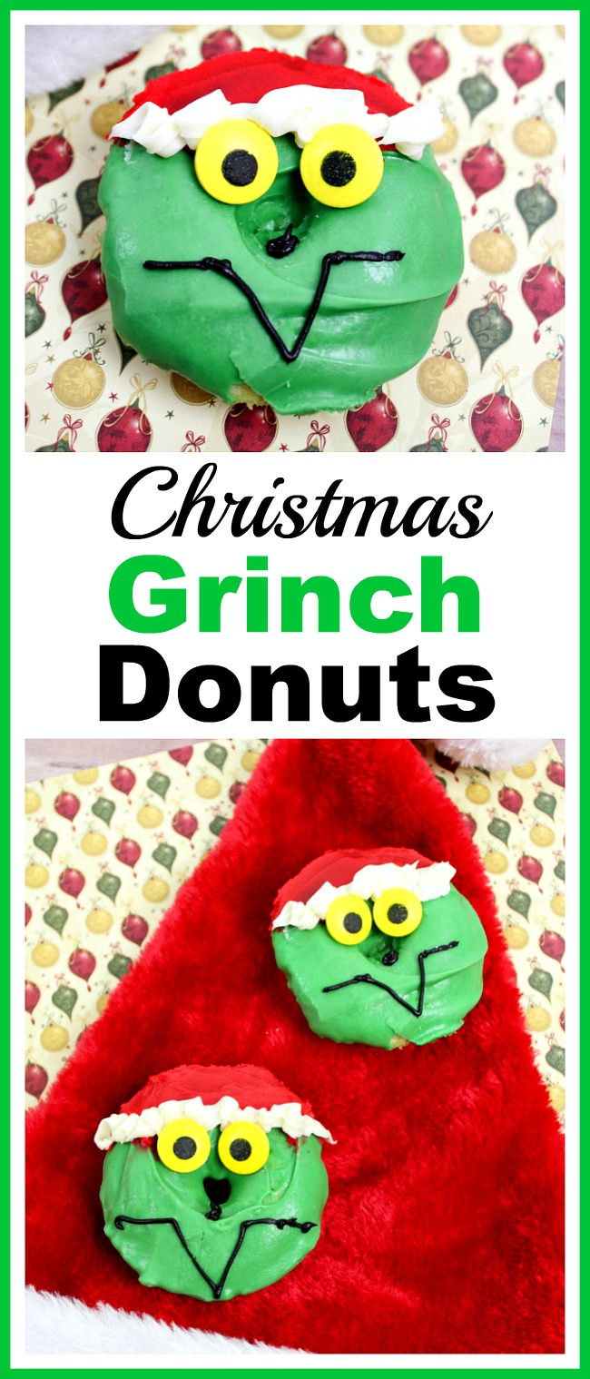 Christmas Grinch Donuts- Give your homemade donuts a Christmas-y twist by turning them into fun Grinch faces! Here's how to make your own Christmas Grinch donuts! #dessert #recipe #Christmas #donuts