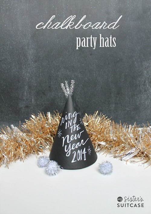DIY New Year's Party Hats- You can have a fun and glamorous New Year's Eve without spending a lot! Check out these 15 DIY New Year's Eve décor ideas for inspiration! #DIY #NewYearsEve #decor #craft #ACultivatedNest