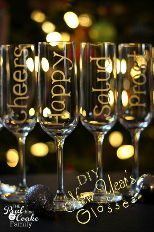 New Year's Eve Personalized Champagne Glasses- You can have a fun and glamorous New Year's Eve without spending a lot! Check out these 15 DIY New Year's Eve décor ideas for inspiration! #DIY #NewYearsEve #decor #craft #ACultivatedNest