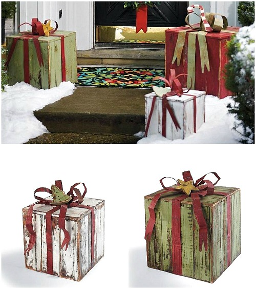 15 easy diy outdoor christmas decorating ideas this christmas stay on budget and make - Outdoor Christmas Decorations Gift Boxes
