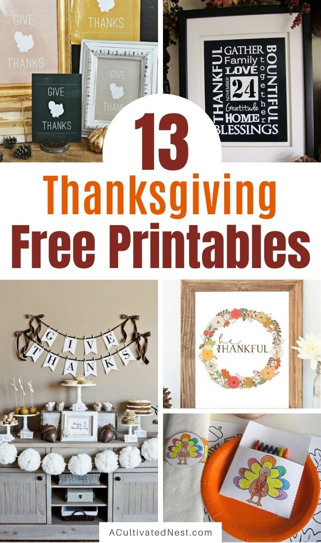 Free Thanksgiving Printables- If you want to decorate your home on a budget for Thanksgiving or keep your kids busy while you cook the big meal, then you need to check out these 13 free Thanksgiving printables! | #freePrintables #Thanksgiving #printables #wallArtPrintables #ACultivatedNest