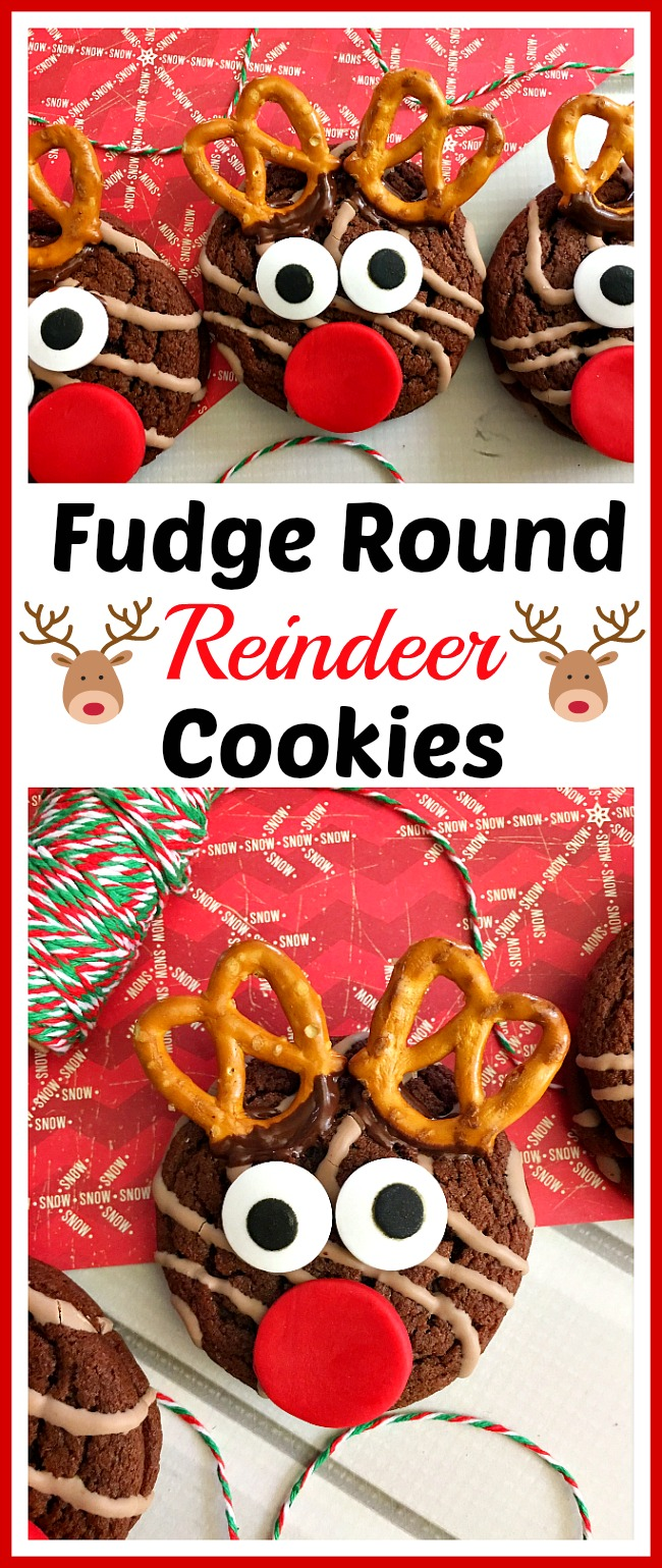Fudge Round Reindeer Cookies- Not all Christmas cookies have to be 100% homemade! Here's how to use commercial cookies to make fun Fudge Round reindeer cookies! #dessert #cookies #reindeer #Christmas