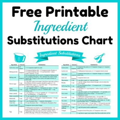 Handy Ingredient Substitutions Chart Free Printable