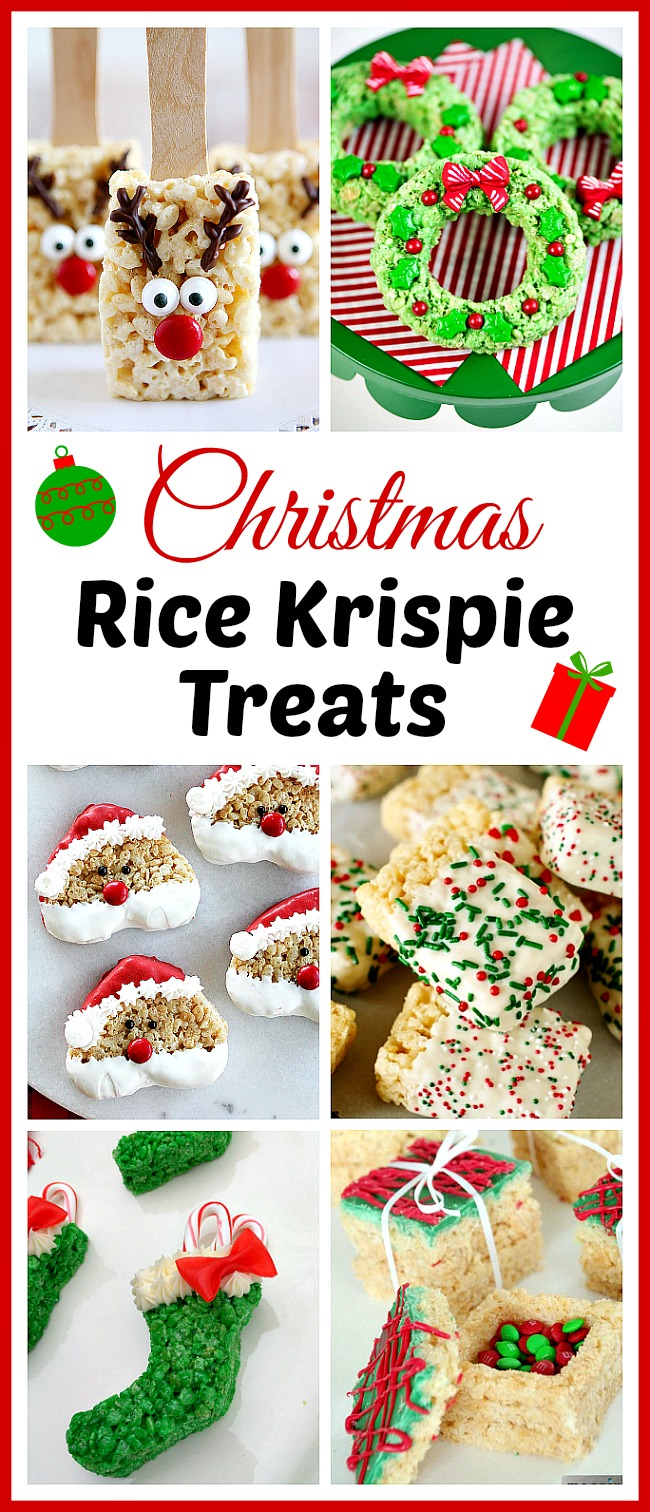 15 Homemade Christmas Rice Krispie Treats- If you want to celebrate the holidays in a delicious and easy way, then you have to make these homemade Christmas Rice Krispie Treats! | reindeer, wreath, Santa, elf, lumps of coal, #Christmas #recipe #dessert #food