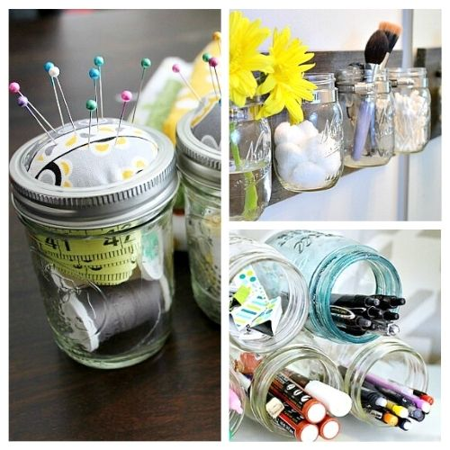 14 Ways To Organize Your Home With Jars- Organizing with jars is an easy way to get your home organized on a budget! Check out all the clever storage solutions you can create with jars! | #organizing #homeOrganization #organization #storageSolutions #ACultivatedNest