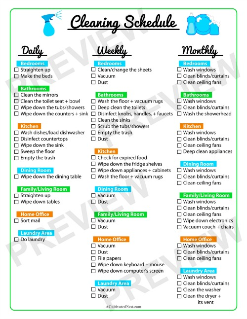Keep Your Home Clean with a Printable Cleaning Schedule- This printable cleaning schedule is very comprehensive! It contains daily, weekly, and monthly cleaning checklists, but is designed to be easy to manage, not overwhelming. | home cleaning tips, cleaning checklist, daily cleaning, weekly cleaning, monthly cleaning, #cleaningTips #homemaking #freePrintable