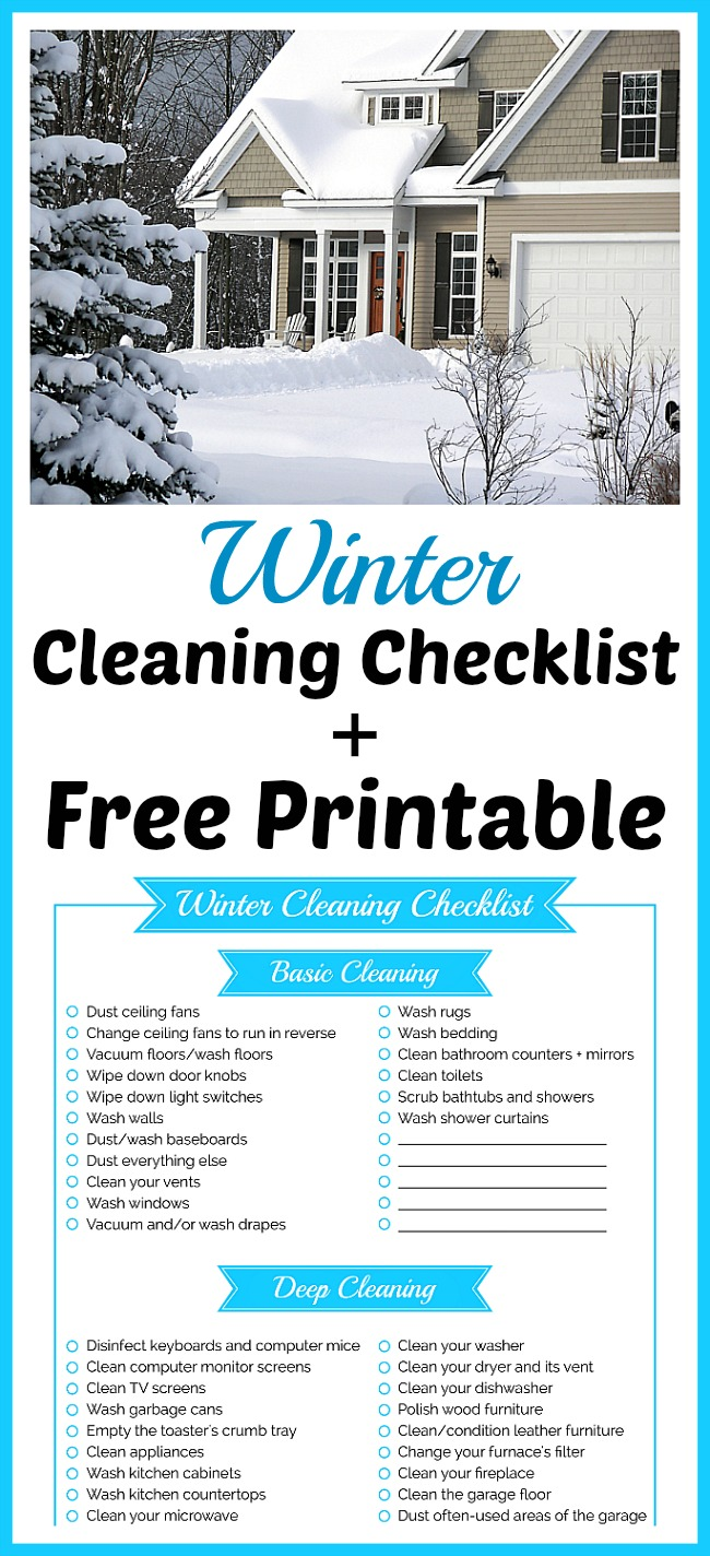 Winter Cleaning Checklist + Free Printable- You don't need to wait until spring to deep clean your home. Start cleaning now with my free printable winter cleaning checklist! #freePrintable #printable #cleaning #checklist