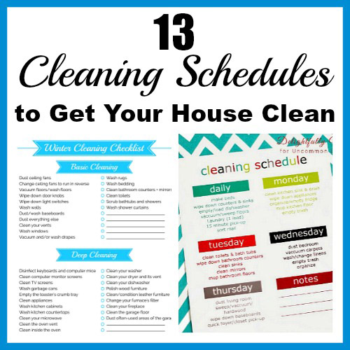 13 Cleaning Schedules to Get Your House Clean- These handy cleaning schedules will make keeping your home tidy easier! Many free printable cleaning schedules are included! | #freePrintables #cleaningSchedules #cleaningTips #printables #ACultivatedNest