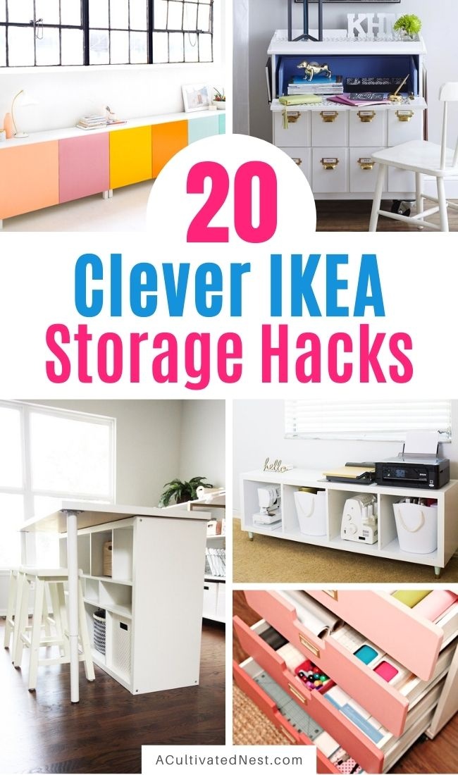 20 Clever IKEA Storage Hacks- If you want to organize your home with IKEA products, but wish there were more styles and colors to choose from, then you need to check out these clever IKEA storage hacks! | diy IKEA organization, #organizingTips #homeOrganization #diyOrganization #organize #ACultivatedNest
