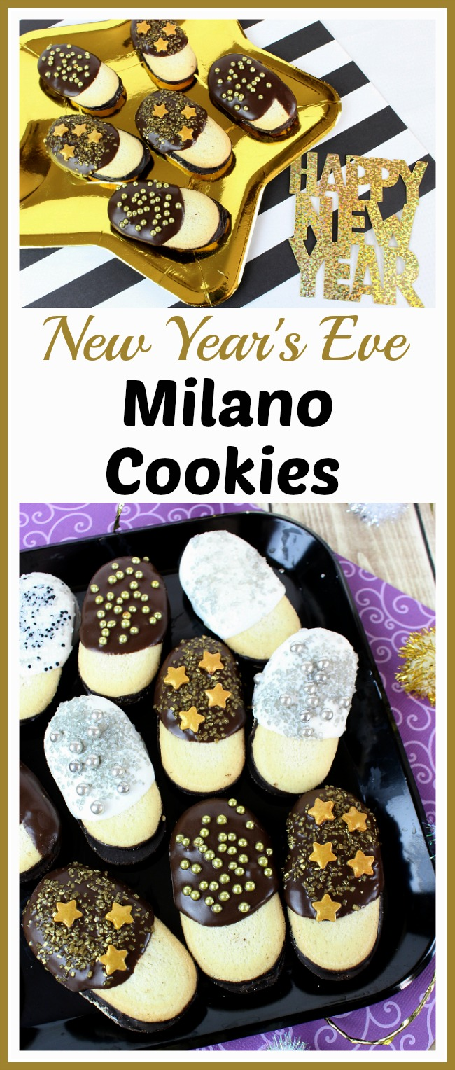 New Year's Eve Milano Cookies- It's so easy to make these festive (and delicious) semi-homemade New Year's Eve Milano cookies! They're easy enough for kids to make, and they make wonderful New Year's Eve party treats! #dessert #NewYearsEve #recipe #cookies