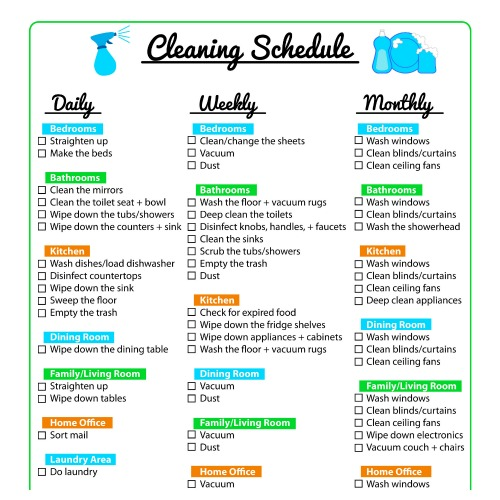 Home Cleaning Schedule Printables- These handy cleaning schedules will make keeping your home tidy easier! Many free printable cleaning schedules are included! | #freePrintables #cleaningSchedules #cleaningTips #printables #ACultivatedNest