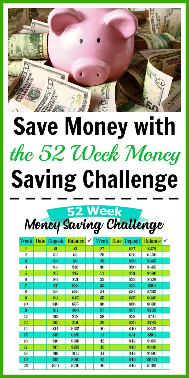 Save Money with the 52 Week Money Saving Challenge- A fun and easy way to save money is with the 52 week money saving challenge. Use my free printable worksheet to get started! | money saving tips, frugal living, personal finance, printable savings chart, #freePrintable #saveMoney #ACultivatedNest