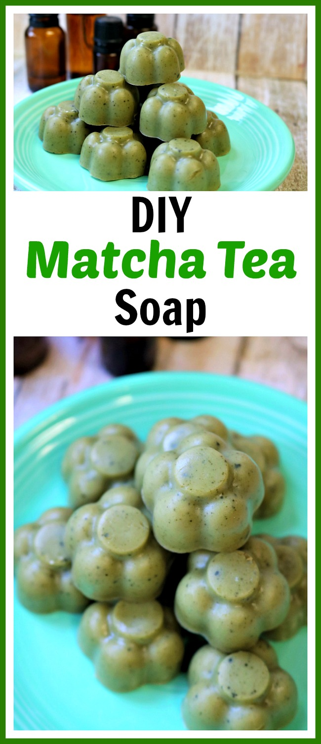 DIY Matcha Tea Soap- This DIY matcha tea soap will help reduce fine lines and wrinkles and clear up blemishes, while balancing the oil and moisture in your skin. And it also smells great! Check out my easy tutorial to find out how to make your own homemade soap with matcha tea! | homemade beauty product, shea butter soap, green soap, flower shaped soap, craft, diy gift, #soap #diy #craft #matchaTea