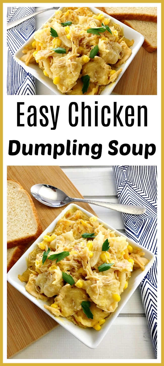 Easy Chicken Dumpling Soup- If you need a comforting and hearty soup to help you make it through cold days, then you have to give this easy chicken dumpling soup a try! It's very quick to put together, and is so delicious! | winter soup, fall soup, chicken and dumplings soup, easy dinner ideas, chicken dishes, #soup #recipe #food #chicken