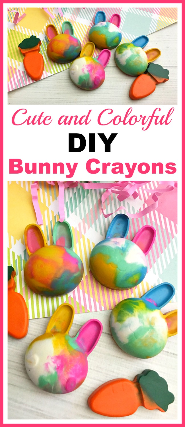 Cute and Colorful DIY Bunny Crayons- Coloring is much more fun if your kids have custom-shaped crayons! Here's how to easily make your own cute and colorful DIY bunny crayons! These would make great Easter basket gifts! | custom crayon, kids' art supplies, Easter crayons, rabbit, carrot crayons #Easter #diy #craft #coloring