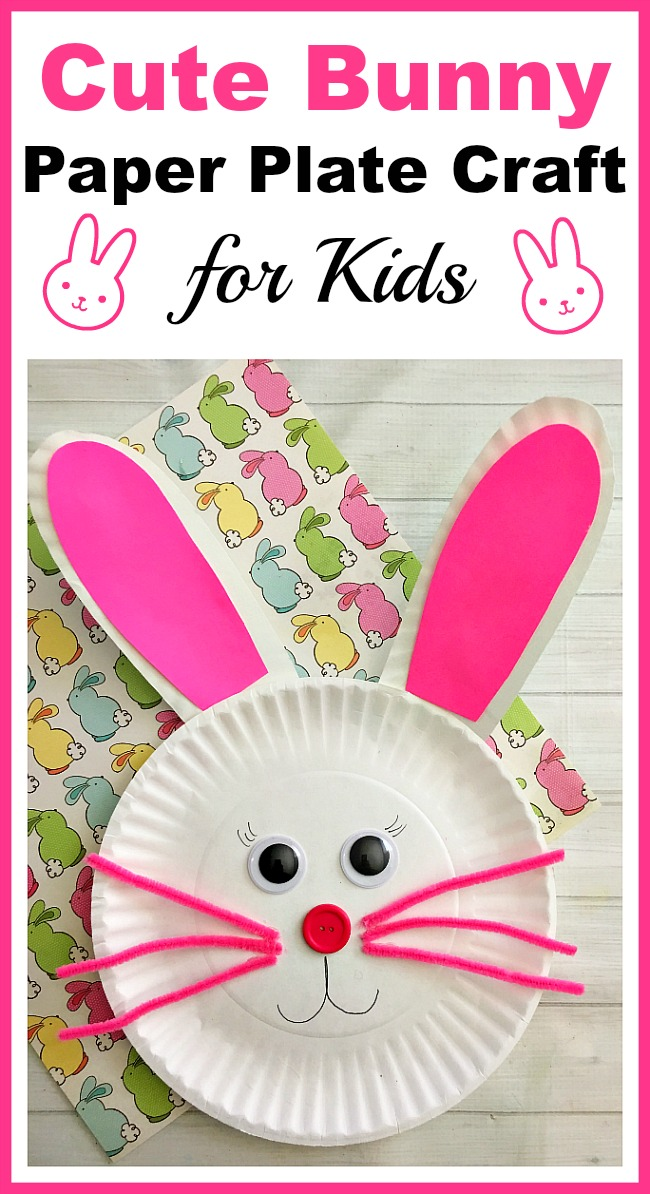Cute Bunny Paper Plate Craft for Kids- Paper plate crafts are an inexpensive and fun way to keep kids busy! This spring, have your kids do this cute bunny paper plate craft! | rabbit, easy craft, #eastercrafts #kidsactivities #paperplatecrafts #kidscraft