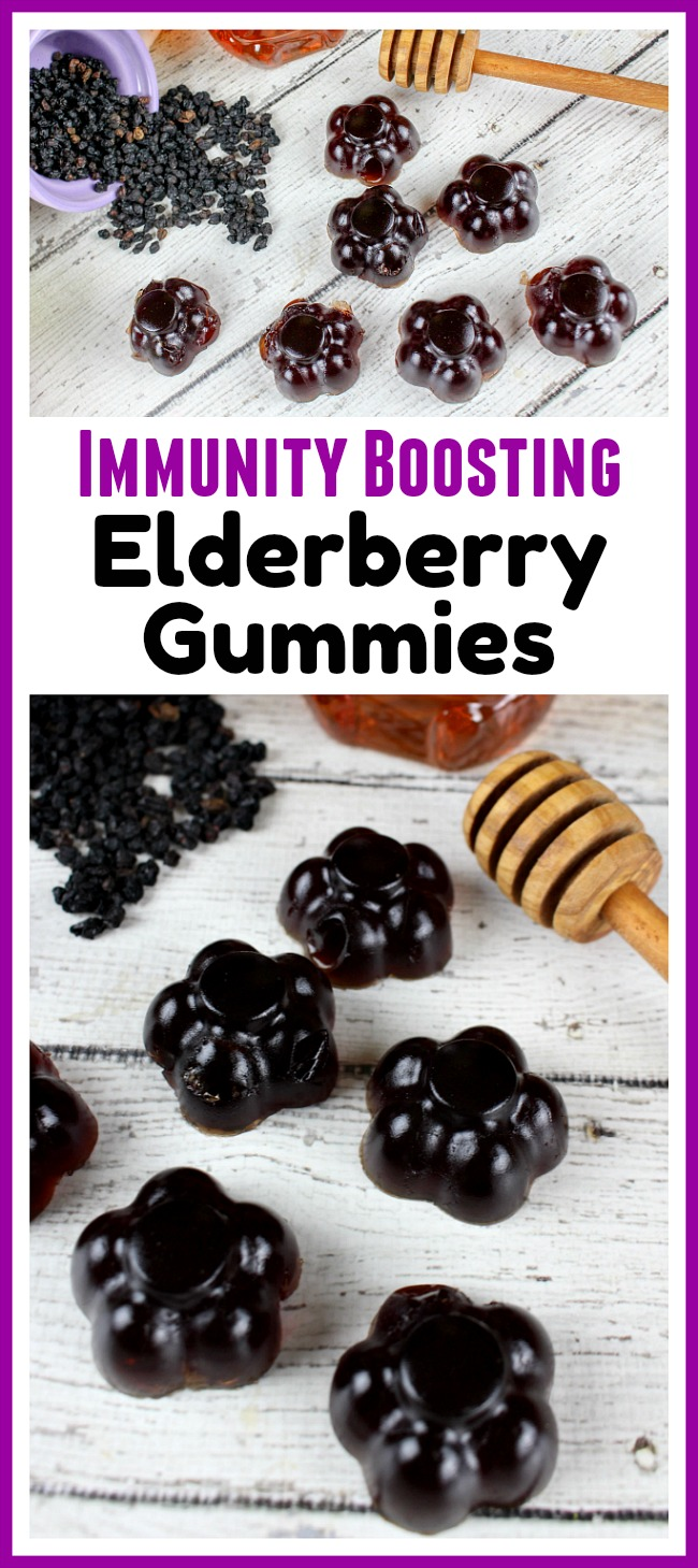 Immunity Boosting Elderberry Gummies- The best way to make it through the winter cold/flu season is by keeping your immune system strong. You can easily strengthen your system's sickness fighting abilities with these immunity boosting elderberry gummies! Homemade elderberry syrup recipe included! | all-natural, natural flu prevention, how to keep from getting sick, gummy candy, #fluSeason #elderberry #homemade #recipe