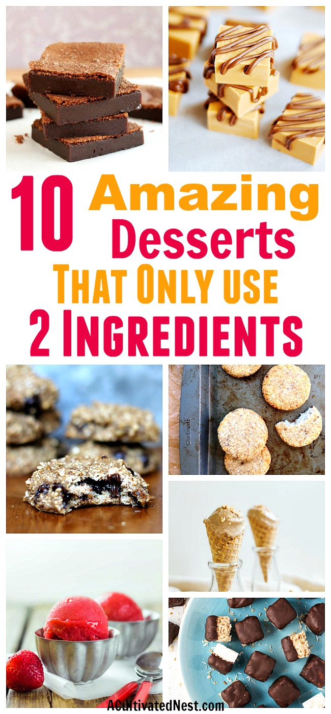 10 Mouth-Watering 2-Ingredient Desserts- It's amazing what tasty treats you can make with just 2 ingredients! For some inspiration, take a look at these 10 delicious 2-ingredient desserts! | #desserts #food #recipes #cookies #brownies #iceCream #macaroons