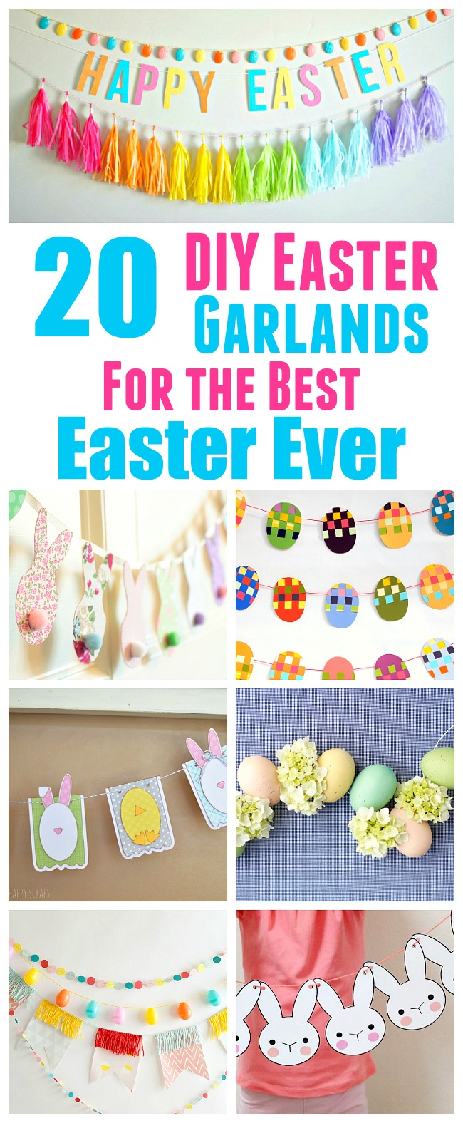 20 Festive DIY Easter Garlands and Banners- You can decorate your home for Easter the frugal way by making one of these DIY Easter garlands and banners! There are many different kinds to choose from. and they're all so easy to make! | Easter decorations, printable decor, rabbit, bunny, eggs, seasonal decor, #DIY #craft #spring #Easter