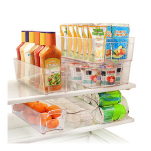 6 Piece Fridge Stackable Organizer Bins with Handles
