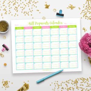 Printable Bill Payments Calendar