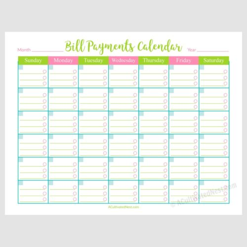 Printable Bill Payments Calendar