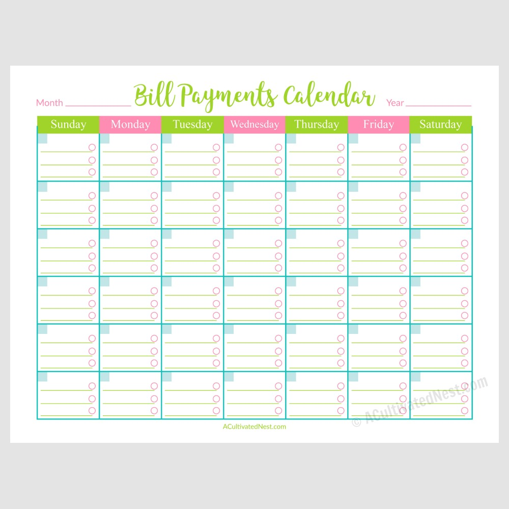 printable bill payments calendar a cultivated nest