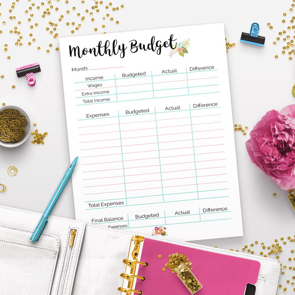 Organize Your Finances- Printable Budget Binder- Floral- A