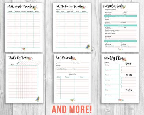 Printable Home Management Binder- Floral